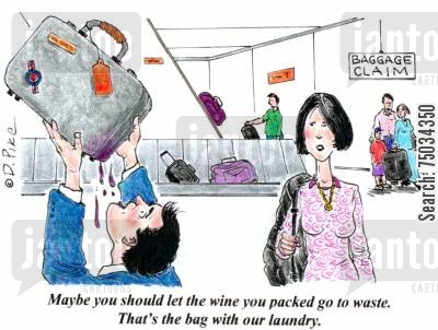 stain cartoon humor: 'Maybe you should let the wine you packed go to waste. That's the bag with our laundry.'