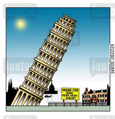 leaning tower of pisa cartoon humor: House for sale - very cheap!