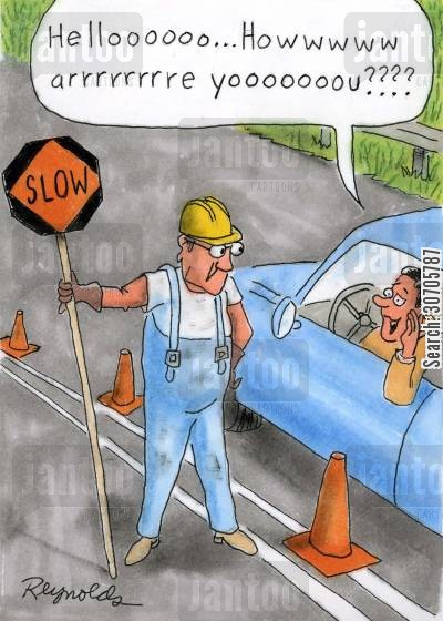 slowness cartoon humor: 'Hello. How are you?'