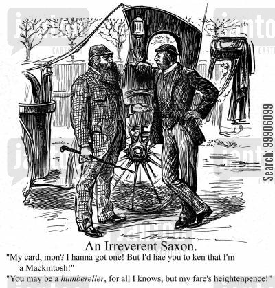 hansom cab cartoon humor: A travel fare dispute.