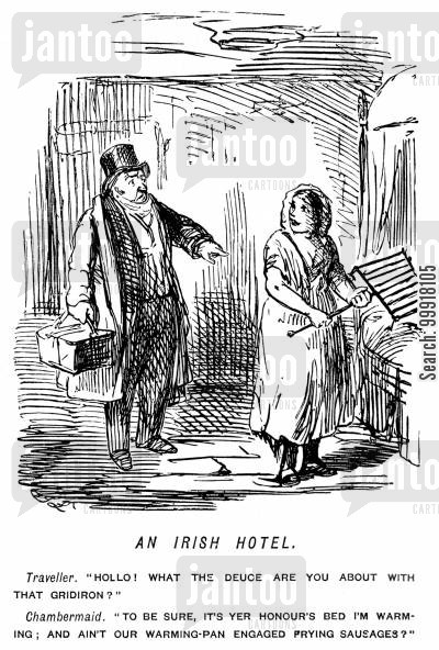 muddled cartoon humor: Maid using a gridiron as a warming-pan in an Irish hotel.