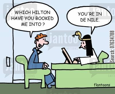 egyptian vacation cartoon humor: Which Hilton have you booked me into?