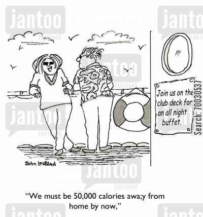 calorie cartoon humor: 'We must be 50,000 calories away from home by now.'