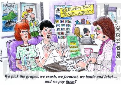 adventure cartoon humor: 'We pick the grapes, we crush, we ferment, we bottle and label - and we pay them?'
