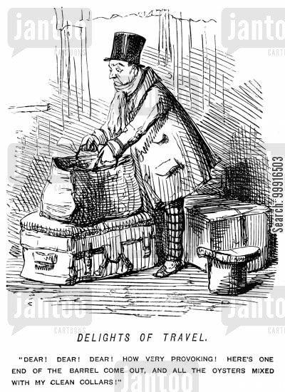 oyster cartoon humor: A barrel breaks in a man's luggage and he gets oysters over his clean clothes
