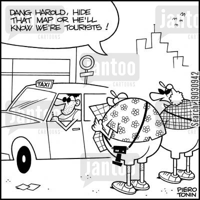 sight seers cartoon humor: 'Dang Harold, hide that map or he'll know we're tourists!'