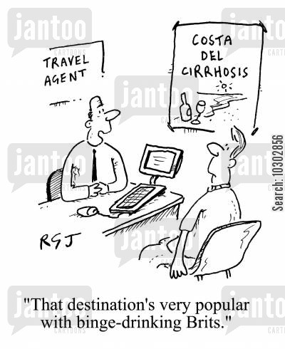 binge cartoon humor: 'That destination's very popular with binge-drinking Brits.'