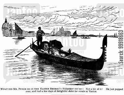 victorian holiday cartoon humor: Mr. Punch in Venice