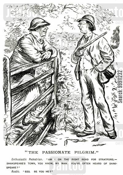 traveller cartoon humor: Walker asking rustic for directions