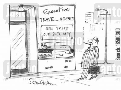 ego trips cartoon humor: 'Travel agency - Ego trips our specialty'