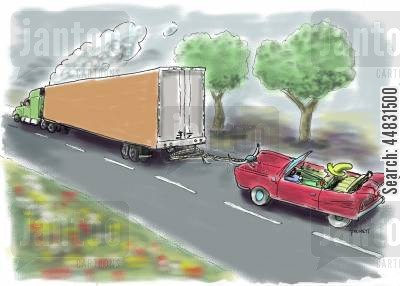 hitch hiker cartoon humor: A cowboy 'hitches' a ride from a trucker.