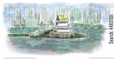 american landmarks cartoon humor: Statue of Liberty is 'Out To Lunch'