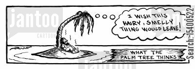 palm trees cartoon humor: I wish this hairy, smelly thing would leave!