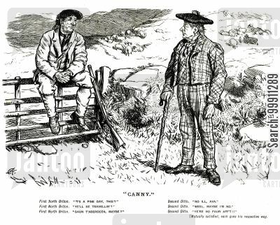rural cartoon humor: Two Scottish men having a short conversation