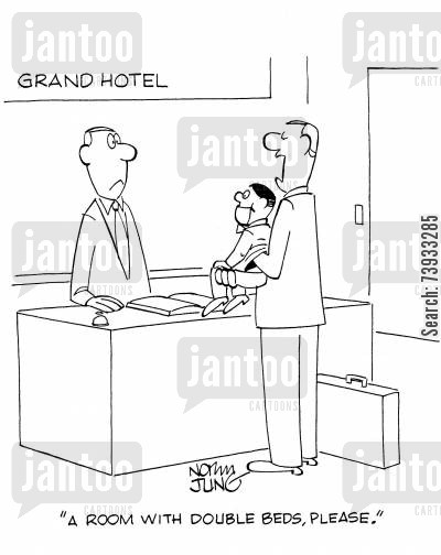 double beds cartoon humor: 'A room with double beds, please.'