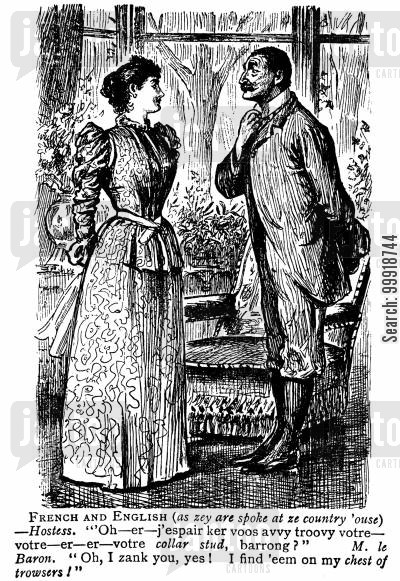 victorian hostesses cartoon humor: French and English.
