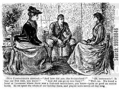 victorian sitting room cartoon humor: Our Compatriots Abroad.