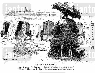 victorian swimming cartoon humor: Cause and Effect.