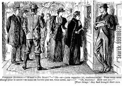 victorian tourist cartoon humor: Foreign Hotels.