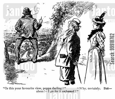 victorian tourist cartoon humor: Favourite View.
