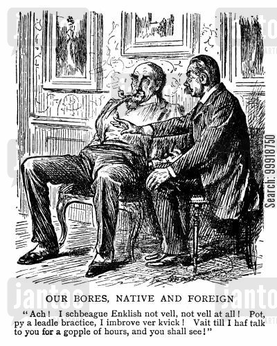 victorian tourist cartoon humor: Our Bores, Native and Foreign.