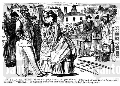 victorian tourist cartoon humor: It's an ill wind.