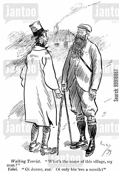 victorian tourist cartoon humor: Walking Tourist.