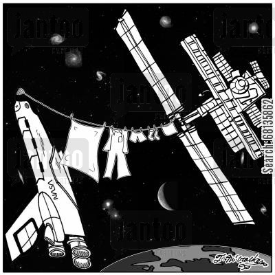 clothesline cartoon humor: Laundry hangs on a clothesline between the International Space Station and the Space Shuttle.