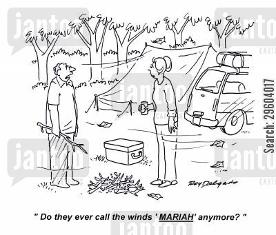 camper vans cartoon humor: 'Do they ever call the winds 'Mariah' anymore?'
