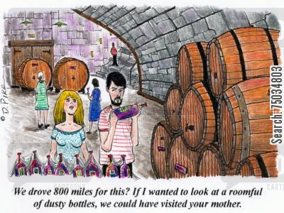 mother in law cartoon humor: 'We drove 800 miles for this? If I wanted to look at a roomful of dusty bottles, we could have visited your mother.'