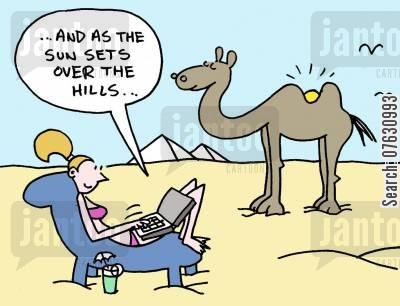 poetic language cartoon humor: And as the sun sets over the hills...