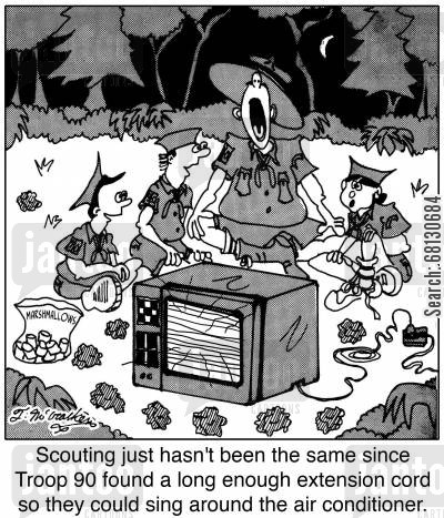 camping cartoon humor: Scouting just hasn't been the same since Troop 90 found a long enough extension cord so they could sing around the air conditioner.