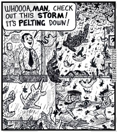 pelt cartoon humor: 'Whoooa,MAN,check out this STORM! It's PELTING down!'