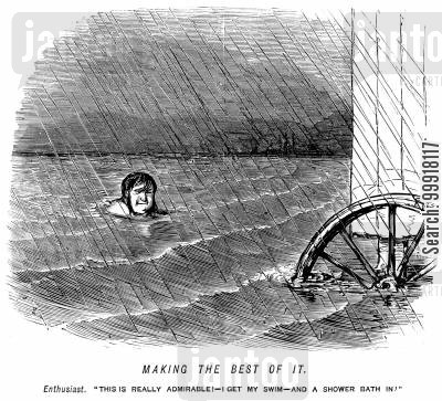 bathing machine cartoon humor: Making the best of it. - man happy that he gets a swim and a shower bath at once