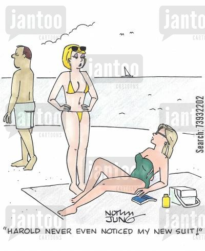 sun bathing cartoon humor: 'Harold never even noticed my new suit!'