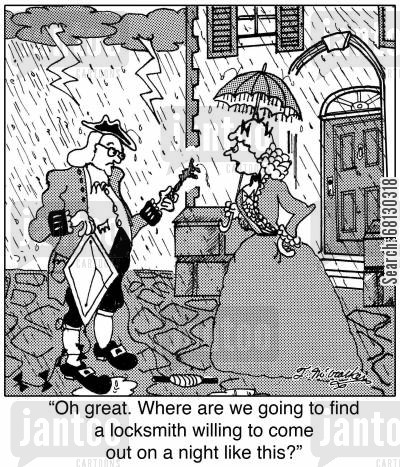 locked out cartoon humor: Oh great. Where are we going to find a locksmith willing to come out on a night like this?