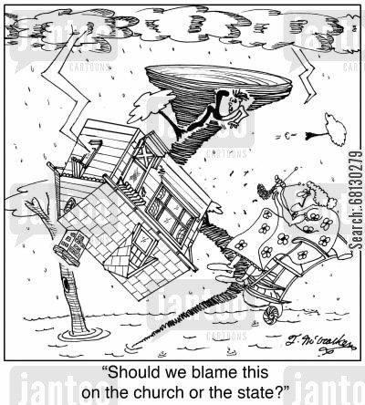 passing blame cartoon humor: Should we blame this on the church or the state?