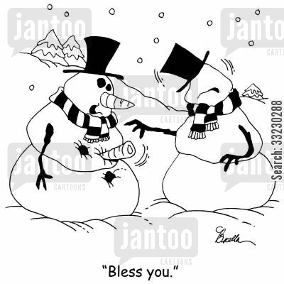 chills cartoon humor: 'Bless you.'
