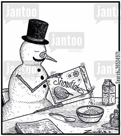 version cartoon humor: A Snowman about to have some Snowflakes breakfast cereal