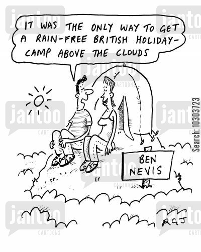 camping cartoon humor: The only way to get a rain free British holiday is to camp above the clouds.