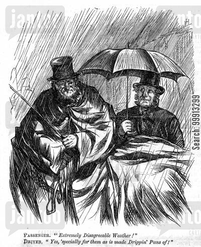 rain cartoon humor: Carriage driver geting dripped on from passenger's umbrella