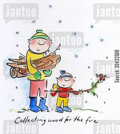 collecting firewood cartoon humor: Collecting wood for the fire.