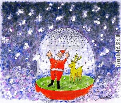 snowglobe cartoon humor: Santa Stuck In A Snow Globe