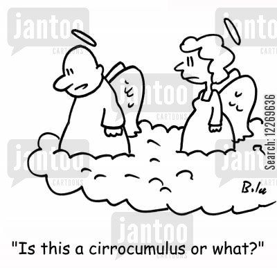 cloud formation cartoon humor: 'Is this a cirrocumulus or what?'