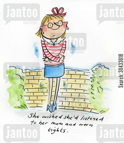 short skirt cartoon humor: She wished she'd listened to her mum and worn tights.