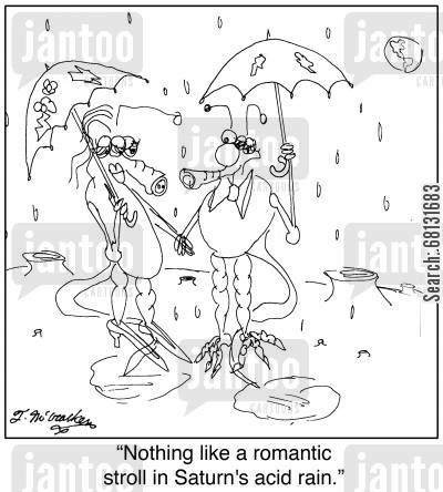 saturn cartoon humor: 'Nothing like a Romantic stroll in Saturn's acid rain.'