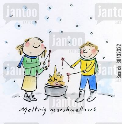 marshmallows cartoon humor: Melting marshmallows.