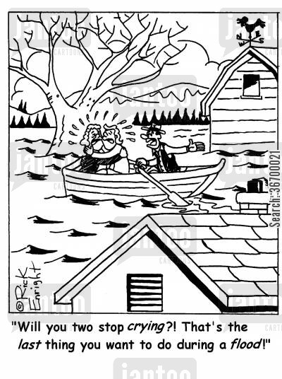 panic reactions cartoon humor: 'Will you two stop crying?! That's the last thing you want to do during a flood!'