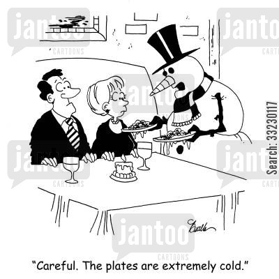 hot food cartoon humor: 'Careful. The plates are extremely cold.'