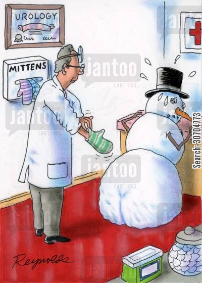 mitten cartoon humor: Doctor Pulls on Mitten For Snowman Examination.